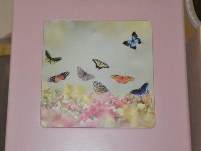 urna click rosa con farfalle