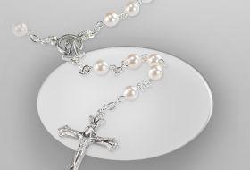 corona rosario perla argento